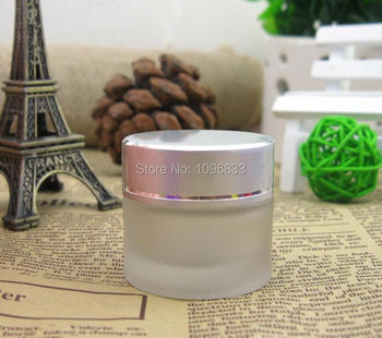 10G Silver Cap Frost Glass Jar, 10g Glass Container, Empty Cosmetic Jar, Cosmetic Packing Container, Cream Sample Jar, 40pcs/lot