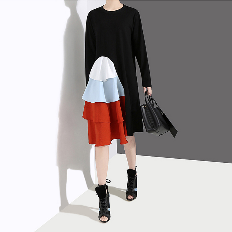 Image 3 - New 2019 Korean Style Women Long Sleeve Autumn Dress Black  Cascading Ruffles Female Casual Patchwork Party Dress Robe Femme  4660Dresses
