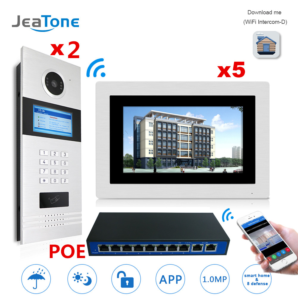 7'' Touch Screen WIFI IP Video Door Phone Intercom +POE Switch 2 to 5 Building Access Control System Support Password/IC Card 7 inch password id card video door phone home access control system wired video intercome door bell