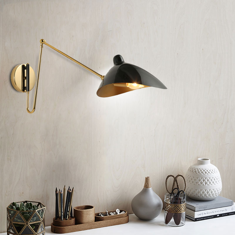 Retro loft vintage wall lamp adjust arm iron lighting fixture bedroom bedside living room study cafe