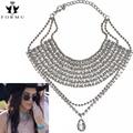 Mais recente de luxo choker mulheres colar grande embutidos de cristal do coração do encanto do metal pingente exo colar apelativo collar jóias nk842
