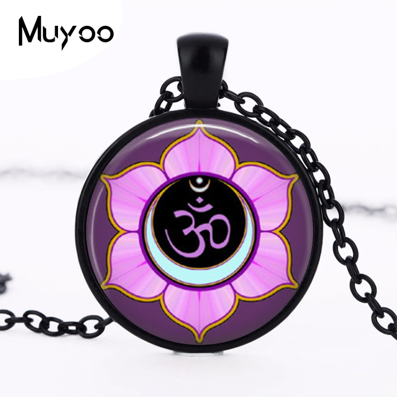 Om Symbol Necklace Yoga Jewelry Aum Zen Purple Flower Art Pendant in Bronze or Silver Plated Choker Necklace HZ1