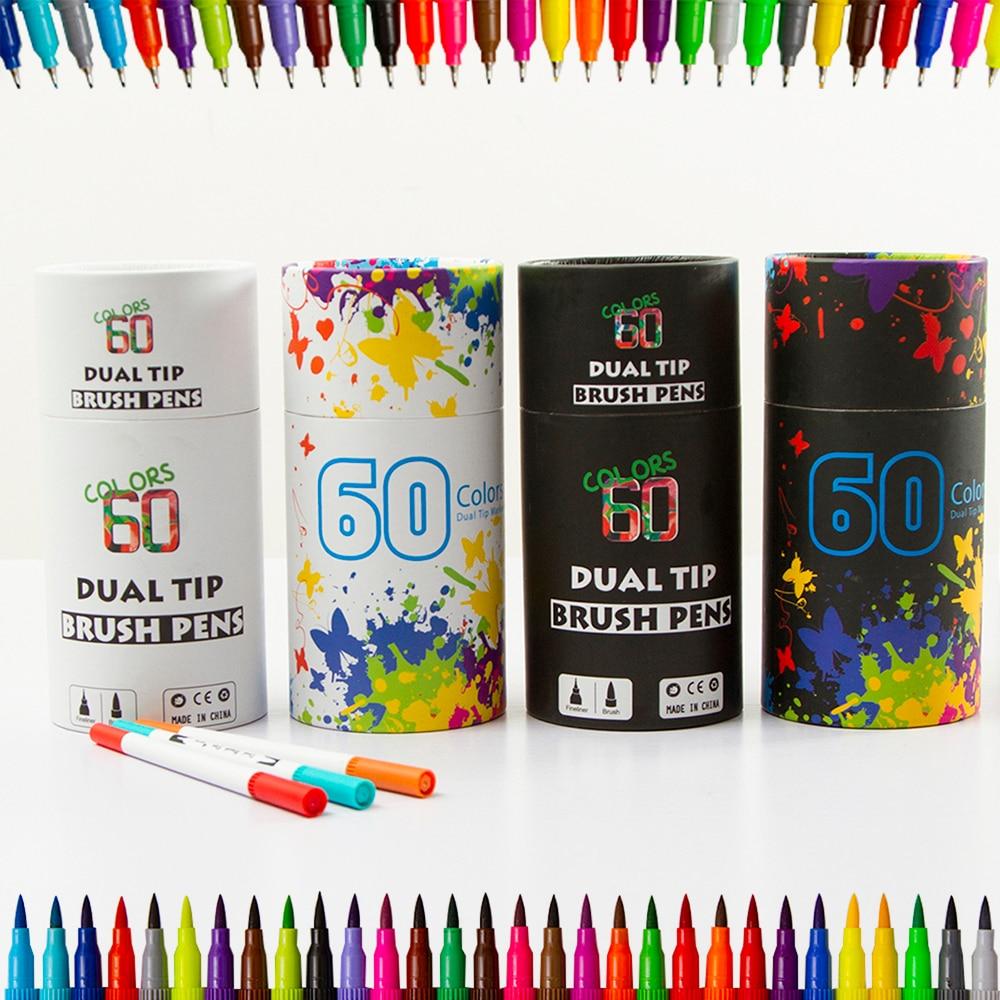 60 Dual Tip Brush Pens Art Markers, Fine Liner Brush Tip Double Colored Pens Set
