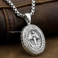 LINSION Vierge Marie JÉSUS Croix 925 Sterling Argent Blanc CZ Pierres Charmes Pendentif 8A004