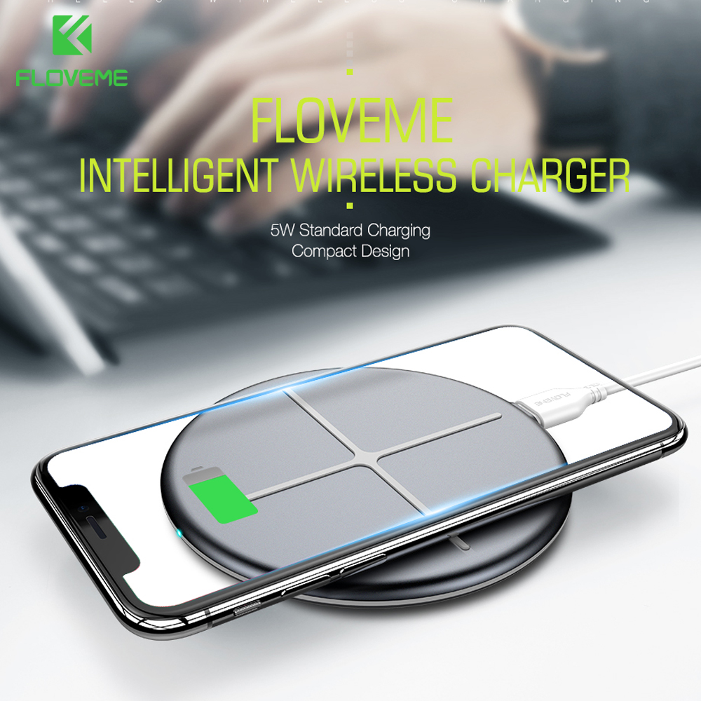 FLOVEME Qi Wireless Charger Pad For iPhone X 8 Plus Samsung Galaxy S9 S8 S7 S6 5W Wireless Charging Type C USB Charger For Phone