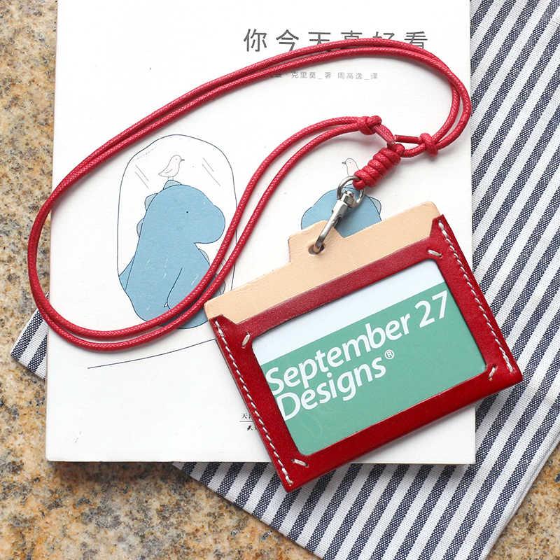 Lanyard Badge Pemegang Kulit Asli Ditarik Cross Identitas Nama Kartu Mahasiswa Case Mini Dompet Tali Leher Bus Kartu ID Pemegang