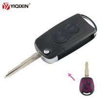 YIQIXIN-carcasa de llave a distancia de coche, 2 botones, abatible, modificado, Fob, para Ssangyong Actyon SUV Kyron Rexton, estilo de coche