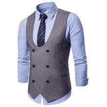 1831776af764 New Dress Gilet Per Gli Uomini Doppio Petto degli uomini di Casual Vestito  di Modo Della Maglia Maglia Sottile Gilet Gilet Masch.