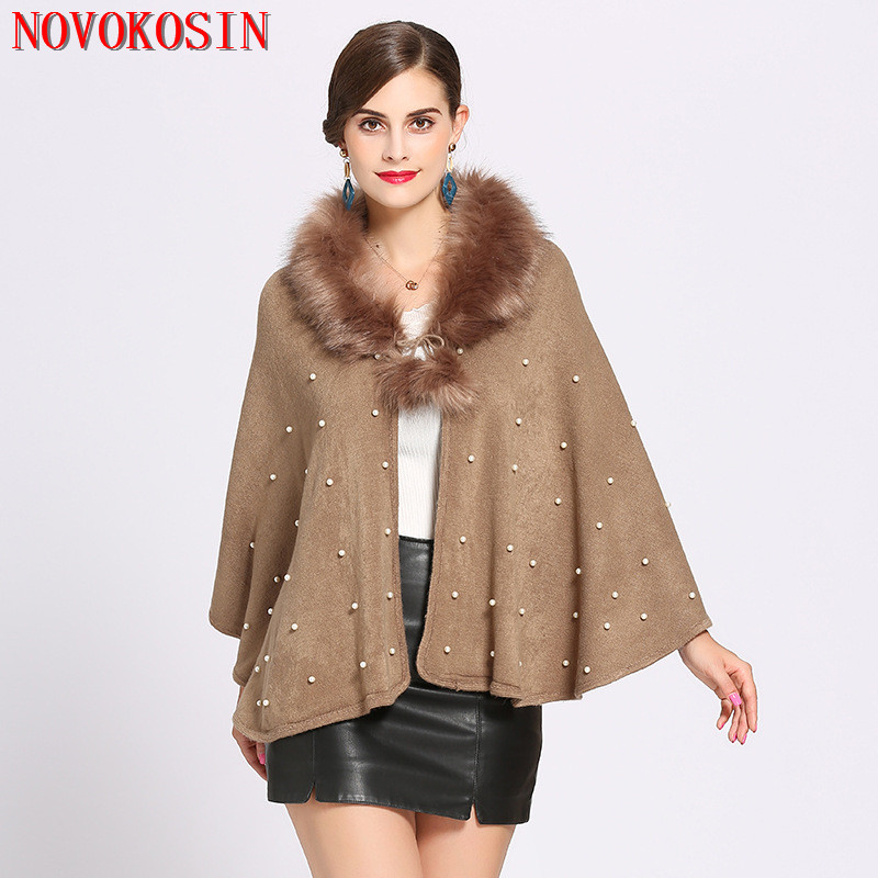 SC199 Winter Warm Faux Cashmere Thick Beading Short Coat 2018 Poncho Women Casual Loose Plus Size Fox Fur Neck Cardigan