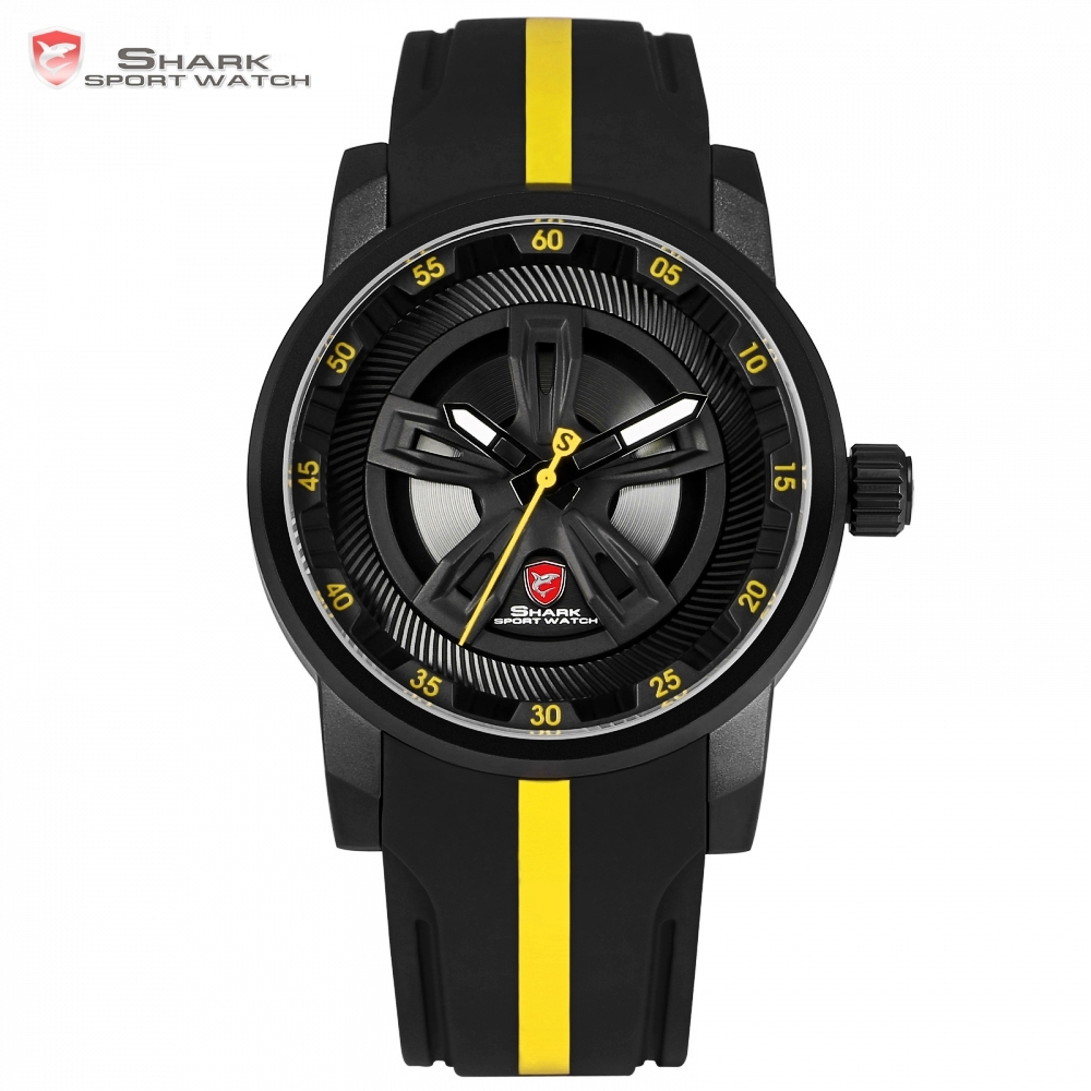 Thresher SHARK Sport Watch New Racing Layer Yellow 3D Wheel Design Dial Crown Quartz Silicone Strap Men Wrist Timepiece /SH503 new shark sport watch dual time date silicone strap back light quartz wrist men military outdoor hours digital timepiece sh041