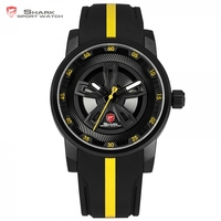 Thresher SHARK Sport Watch New Racing Layer Yellow 3D Wheel Design Dial Crown Quartz Silicone