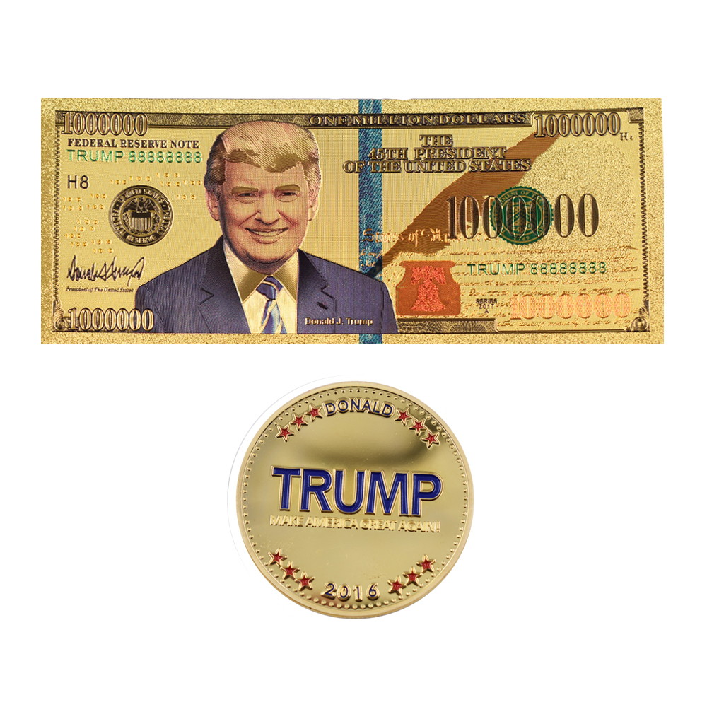 One Million Dollar 24k Gold Banknote Collectible 45th US President Donald Trump Paper Money&commemorative Coin for Collections image