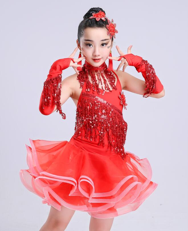 Bright Color Stage Performance Girls Costumes Latin Dance Clothing Sequin Dress Kids Latin Salsa Dresses Samba Dance Costumes in Latin from Novelty Special Use
