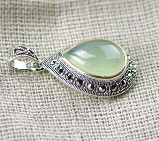 2016 Vintage Elegant Classic Natural Chrysoprase Marcasite 925 Sterling Silver Pendants Without Chain Promotion Free Shipping