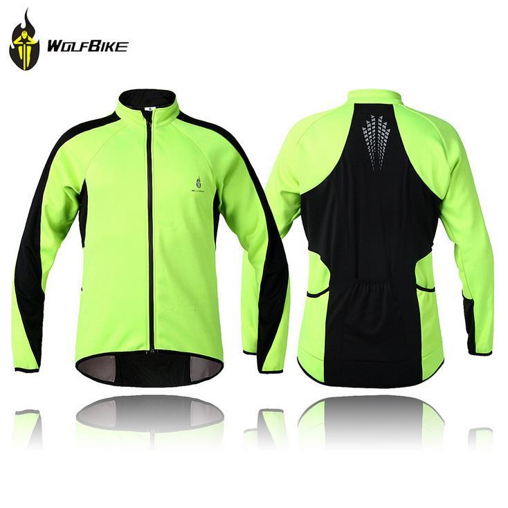 WOLFBIKE mężczyzn jazda na rowerze kurtka płaszcz rower rowerowy rower z długim rękawem Jersey odzież zimowe polarowe termiczna wiatroszczelna w Koszulki rowerowe od Sport i rozrywka na title=