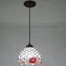 8 inch 20 см коридор Балкон кофе комната Подвесные Светильники Сельской Местности стиль Роуз Бусы Ручной Работы Разноцветные Стекла Тиффани ЛАМПЫ