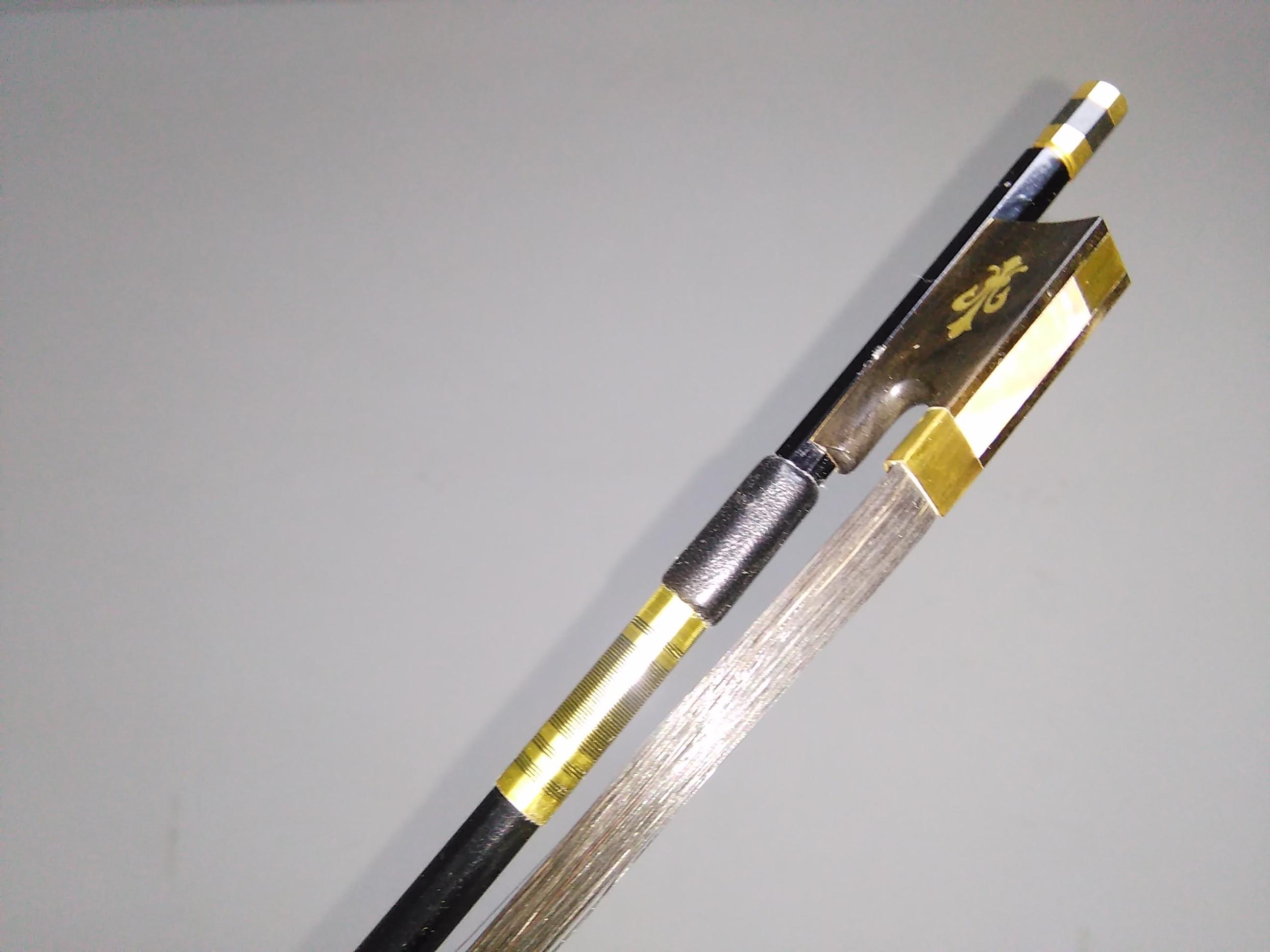 1 PC complet noir fibre de carbone violon arc avec sculpté fleur ébène grenouille noir cheval queues 4/4