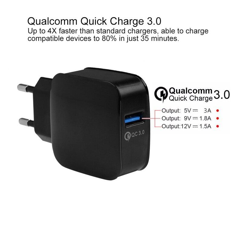 18W Quick Charge 3.0 EU / US 5V 3A Smart Travel USB Charger Adapter - Reservdelar och tillbehör för mobiltelefoner - Foto 3