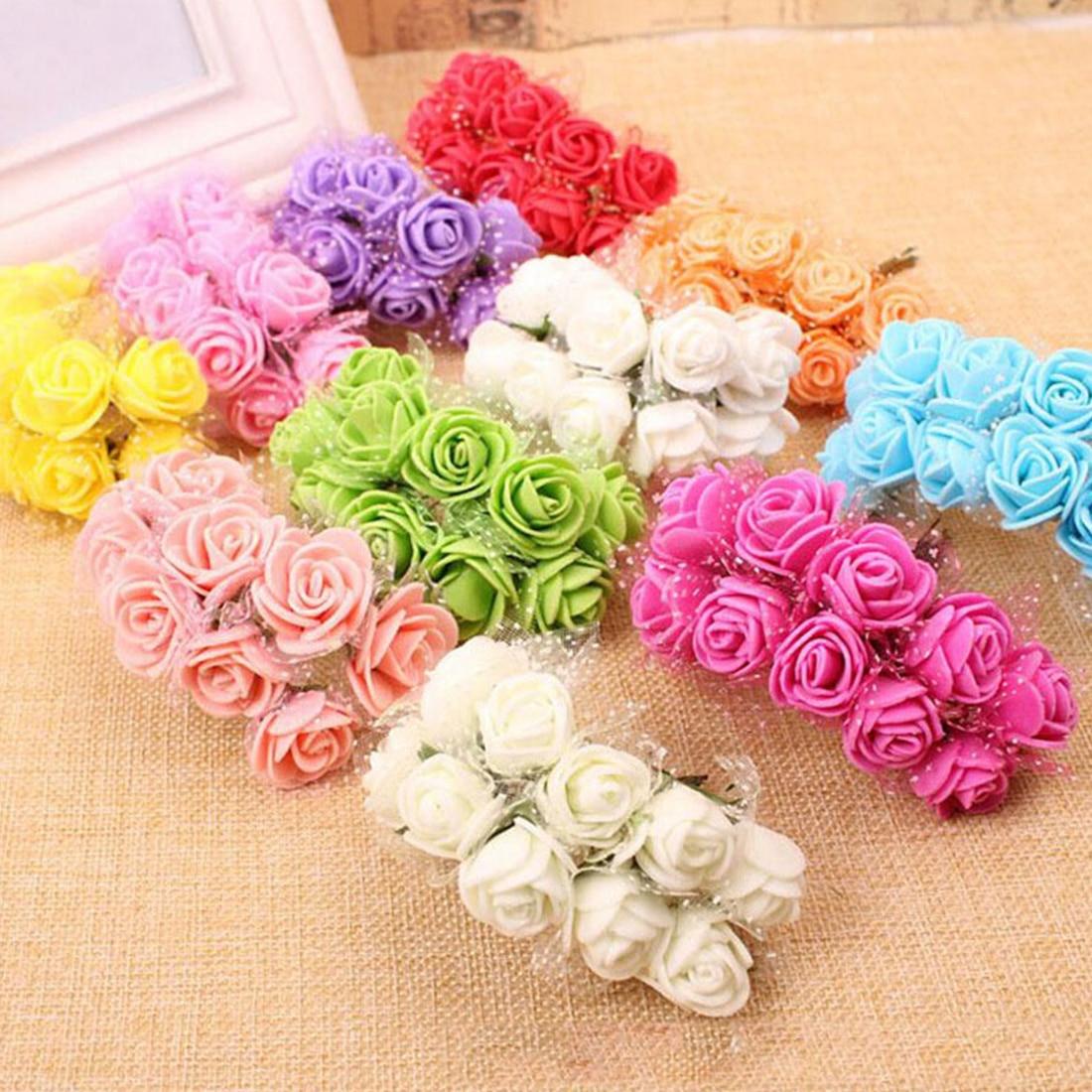 best 144pcs lot mini foam rose artificial flower bouquet 2cm multicolor rose wedding flower. Black Bedroom Furniture Sets. Home Design Ideas