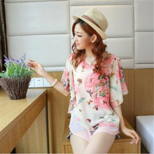 howl lofty Summer Tops Plus Size Women Clothing S- 3XL 16 Style Batwing Sleeve Casual Blouses Floral Print Women's Chiffon Shirt
