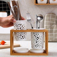 Ceramic chopstick holder Kitchen drain chopsticks cage Multi function household anti mildew Hollow double cage cutlery storage