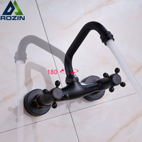 Dual Handle Black Kitchen Mixer Faucet Wall Mounted Swive Spout Kitchen Sink Taps Hot And Cold