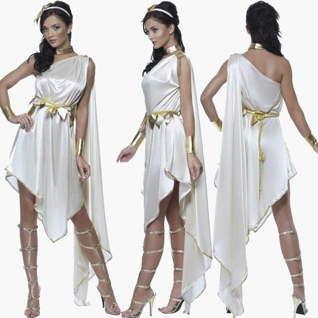 Cosplay Ancient Greece Costume Goddess Athena Clothing Women  White Dress Halloween Costumes