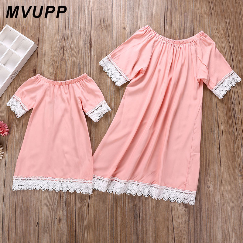 HTB1X51kkHorBKNjSZFjq6A SpXa7 MVUPP mother daughter dresses Solid Fashion for mommy and me clothes family look mom baby elegant dress matching outfits summer