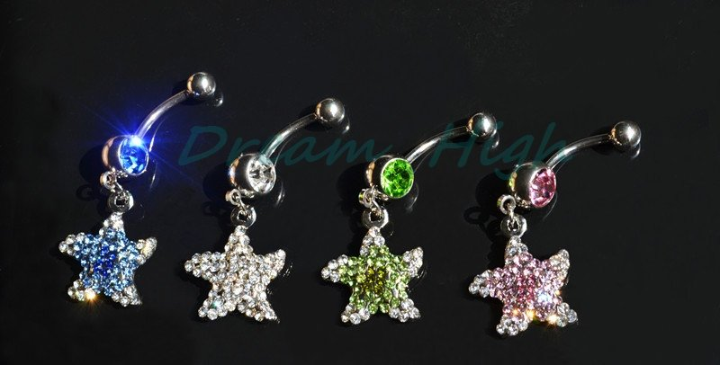 Mixed Styles Dangle Charm Belly Bars Button Navel Rings Chain Body Piercing Jewellry Crystal 14G 316L Stainless Steel