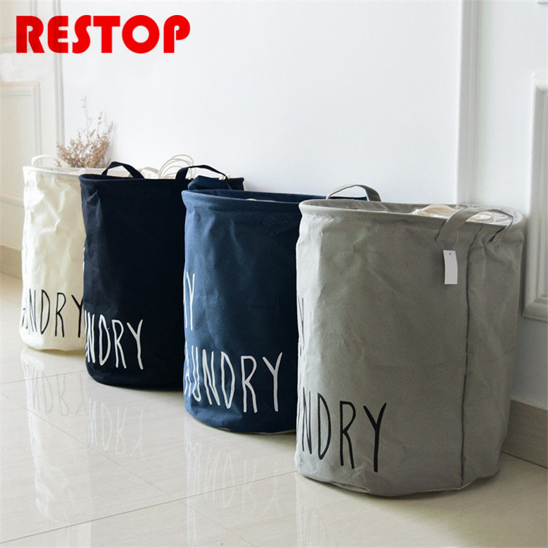 Waterproof Canvas Beam Laundry Basket ZAKKA Style Cotton Linen Washing Clothes Storage Bag Basket Storage Toy Bag RES174