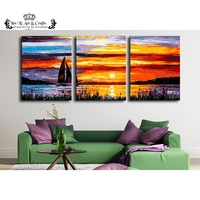 unframed 3pcs Ocean sunsets wall art picture canvas painting modern wall painting by numbers unfinished Modular pictures kits