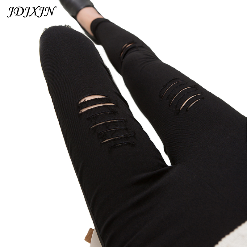 2016 Cotton High Elastic Imitate Jeans Woman Knee Skinny Pencil Pants Slim Ripped Jeans For Women