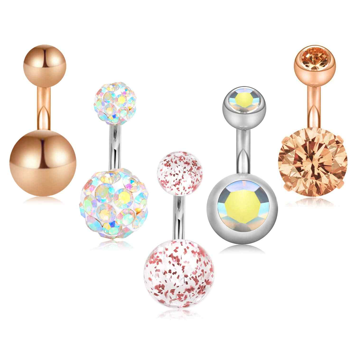 Pink Multi Gem Ball Dangle Pink Double Gem Belly Button Ring Navel Body Piercing Jewelry