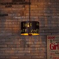 Işıklar ve Aydınlatma'ten Kolye ışıkları'de Büyük boy Metal oyma İngilizce Mektup Loft demir kolye Işık. Bar koridor cafe Restaurant retro lamba aydınlatma dekorasyon