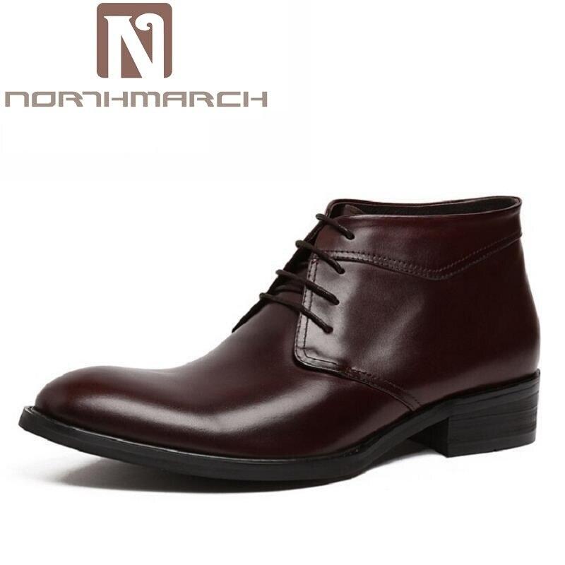 Northmarch новая классическая Мужские ботинки Зимняя обувь из натуральной кожи повседневная обувь Для мужчин удобные Высокие ботильоны 3 цвета