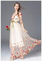 Vestidos largo primavera malla bordado sexy elegante manga tres cuartos 2