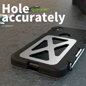 Image 5 - R JUST Paslanmaz Çelik Ağır Kapaklı Flip Kılıfları Apple iPhone X için Açık Dropproof Darbeye Dayanıklı Kapak