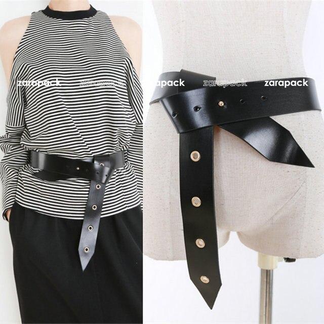 New Designer Brand Runway Style Women Fashion Belt Punk Genuine Leather XS S Free Shipping
