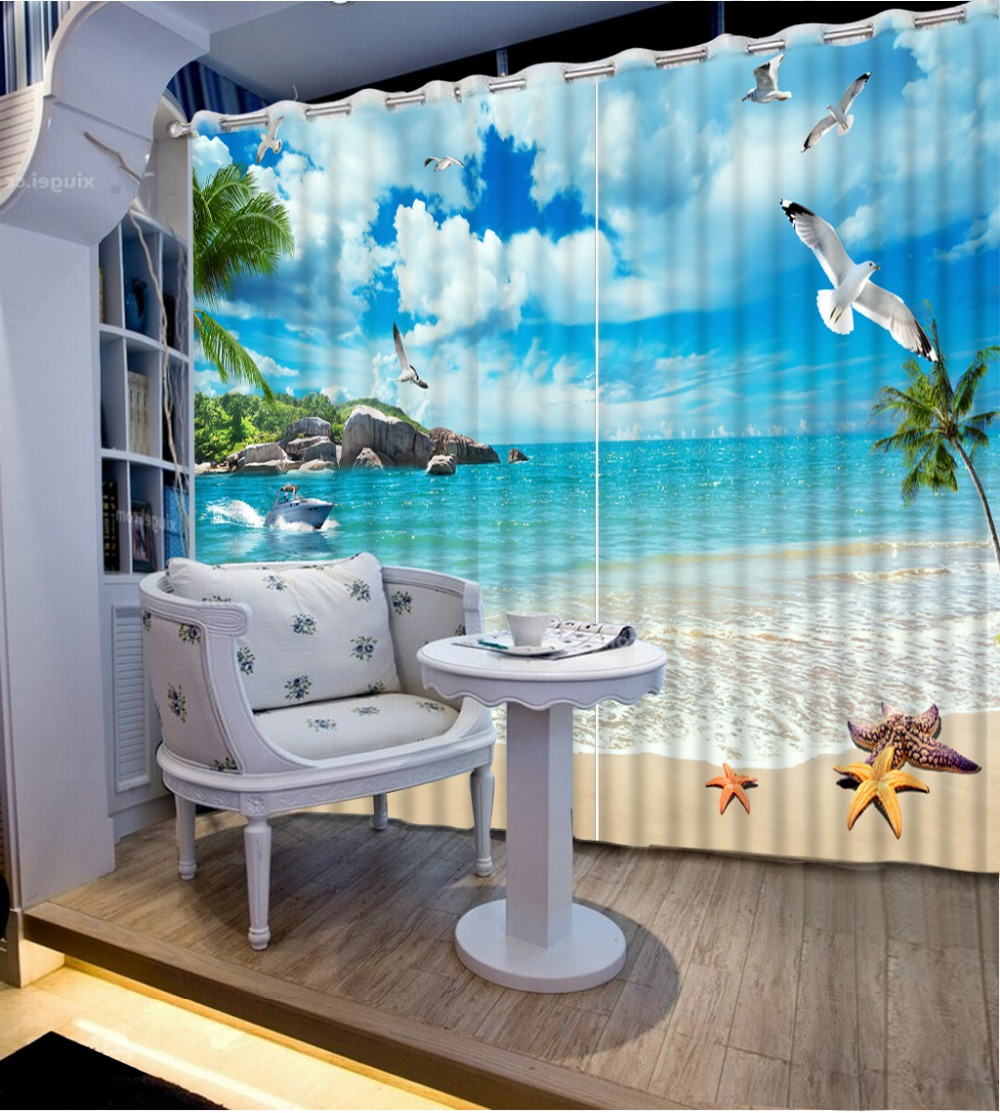 High Quality Costom Modern Living Room Curtains 3d Beach 3D Window Curtains  For Bedding Room