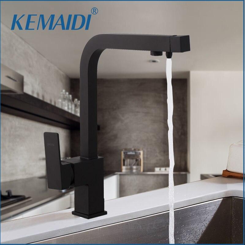 KEMAIDI noir cuisine évier robinet mélangeur sept lettre conception 360 degrés Rotation eau Purification robinet double poignée F aucets