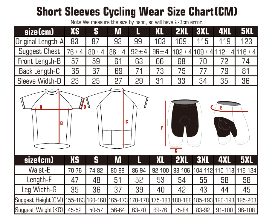 size chart of cycling jersey and cycling bib shorts
