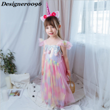 Anime cosplay unicorn party costume Halloween carnival show kids lace cute princess dress 2019 new