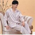 2015 Nuevos Hombres Pijamas de Seda de Satén de Lujo Salón Pijamas Pijamas Para Hombre de Los Hombres de manga Larga Ajustado Más El Tamaño 4XL