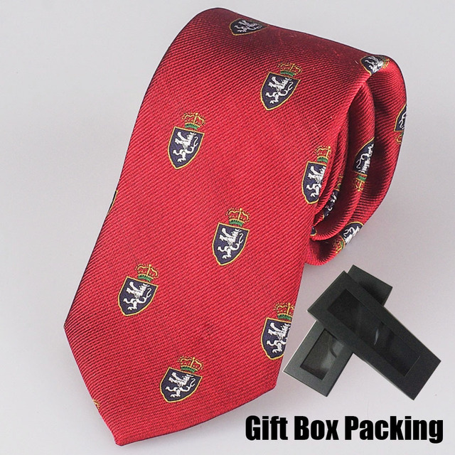 Luxury 100% Silk Necktie in Gift Box Italian Famous Brands Tie Red with Unique Pattern