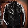 Японский старинных мотоциклов искусственная кожа Тонкий Мужчины Куртку Три Полосы Воротник Черный и Красный Классический куртки Пальто