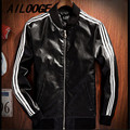 Japanese vintage motorcycle pu leather Slim Men Jacket Three Stripe Stand Collar Black and Red Classic jackets Coats