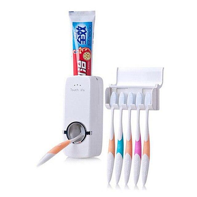 2 pz/set Titolare Spazzolino Da Denti Dispenser Automatico di Dentifricio + 5 Sp