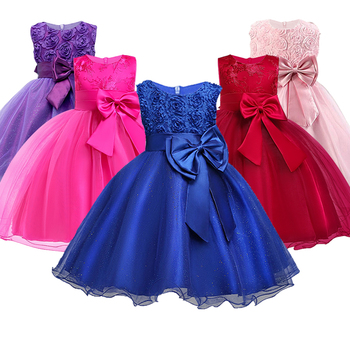 Christmas Girl Dress For Evening Prom Party Costume Teenage Girls Kids Clothes Wedding Birthday Gown Little Girl Red Clothes 1