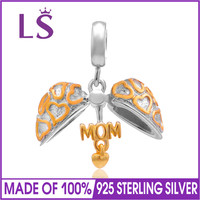LS 14k Gold Plated Mom Charms Original 925 Sterling Silver Heart Pendants Bead For Bracelet Jewelry
