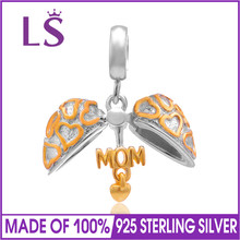 LS 1.4.K G.old Plated Mom Charms Original 925 Sterling Silver Heart Pendants Bead For Bracelet Jewelry Making DIY Gifts
